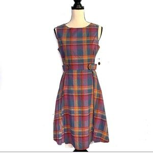 ModCloth Something Sixties Red & Blue Plaid Dress